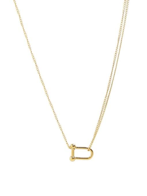 U-shaped horseshoe buckle  40+ 5cm Titanium Steel Geometric Minimalist Necklace