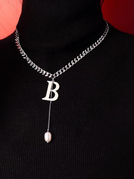 MAKA Titanium Steel Imitation Pearl Tassel  Letter B Vintage Necklace 1