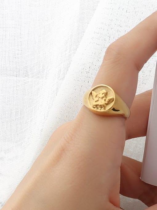 A222 gold ring Titanium Steel Geometric Hip Hop Band Ring