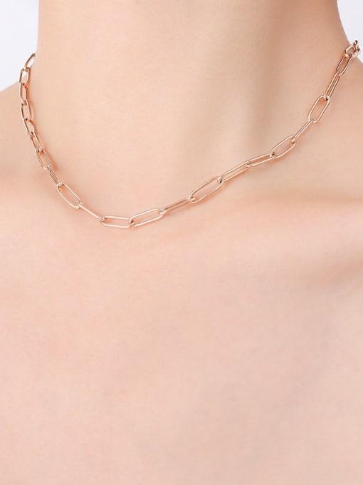 P495 bright rose gold necklace 39cm Titanium Steel Geometric Minimalist Necklace