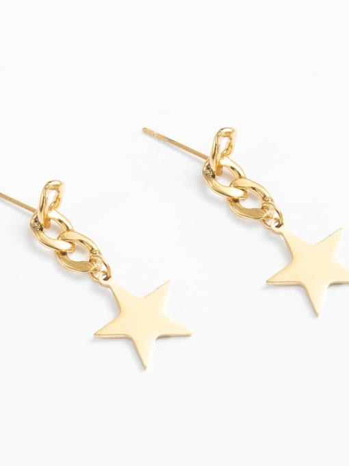 YAYACH Female European and American personality five pointed star Chain Earrings 1