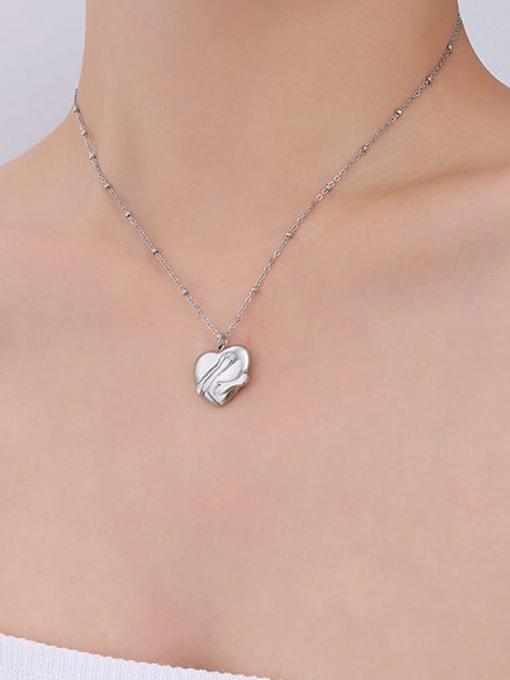 P029 Steel Necklace 40+ 5cm Titanium Steel Vintage Smooth Heart  Pendant Necklace