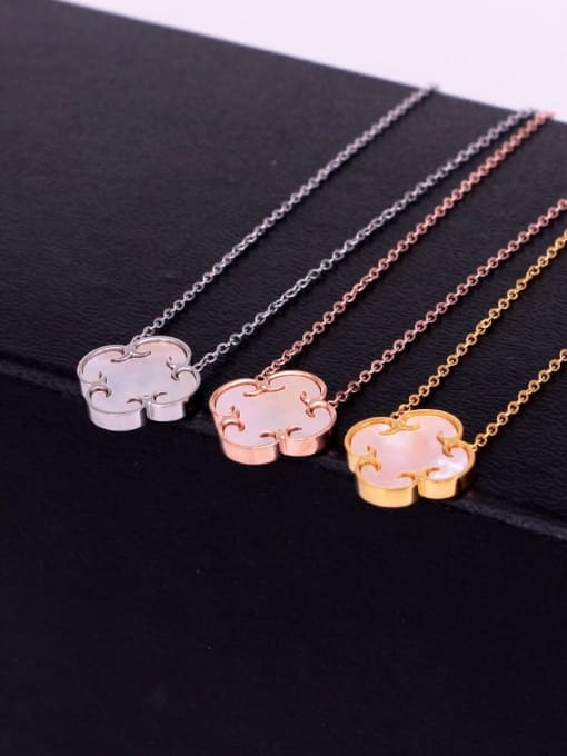 K.Love Titanium Steel Shell Clover Minimalist Necklace 2