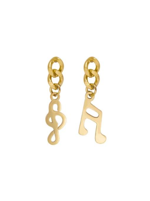 gold Awn star snowflake music key Earrings