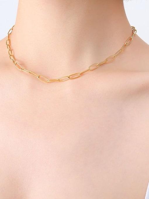 P495 bright gold necklace 39cm Titanium Steel Geometric Minimalist Necklace