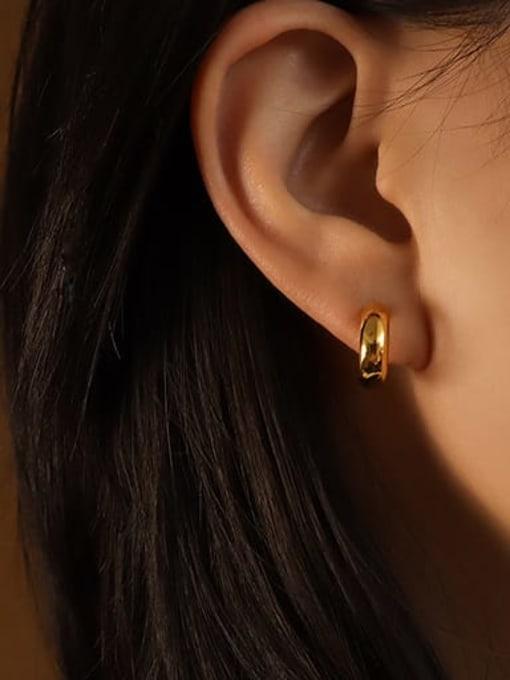 MAKA Titanium Steel Geometric Minimalist Smooth C shape Stud Earring 1