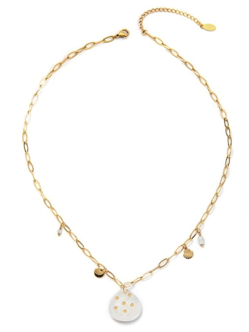 White Fashionable Simple Natural Stone Inlaid Titanium Steel Necklace