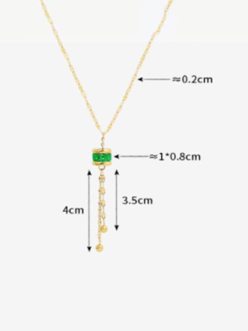 MAKA Titanium Steel Cubic Zirconia Geometric Minimalist Tassel Necklace 2