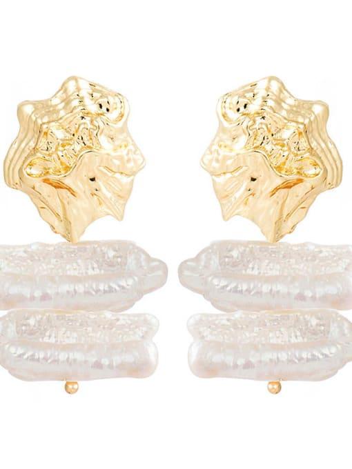 gold Shaped Pearl Pendant Earrings