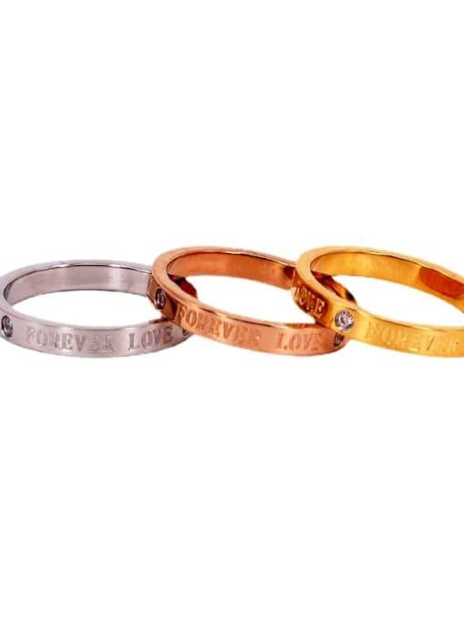 K.Love Titanium Steel Rhinestone Letter Minimalist Band Ring