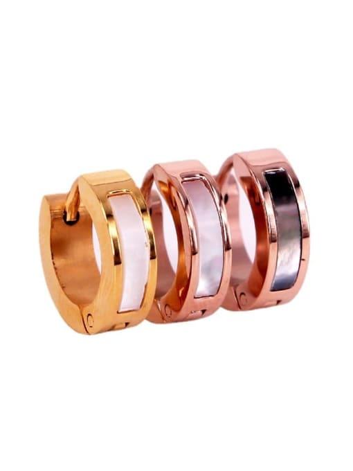 K.Love Titanium Steel Shell Geometric Minimalist Huggie Earring 1
