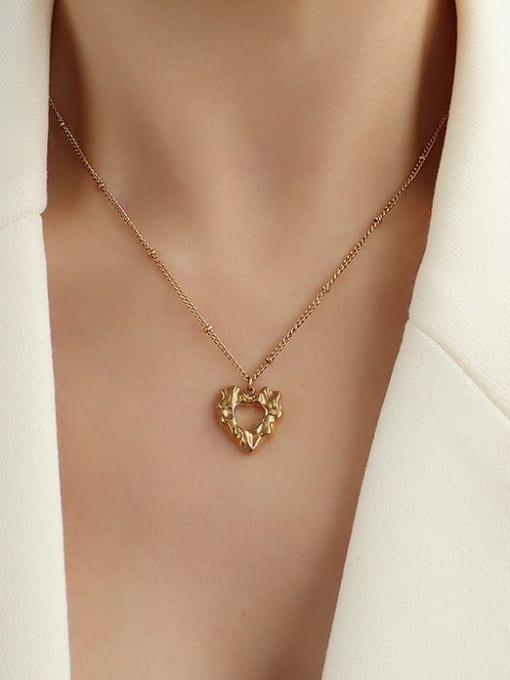 MAKA Titanium Steel Hollow Heart Hip Hop Necklace 1