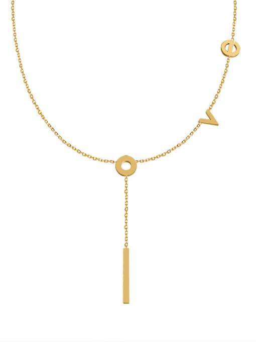 Love Tassel Necklace Gold 42+ 5cm Titanium Steel Letter Tassel Minimalist Tassel Necklace