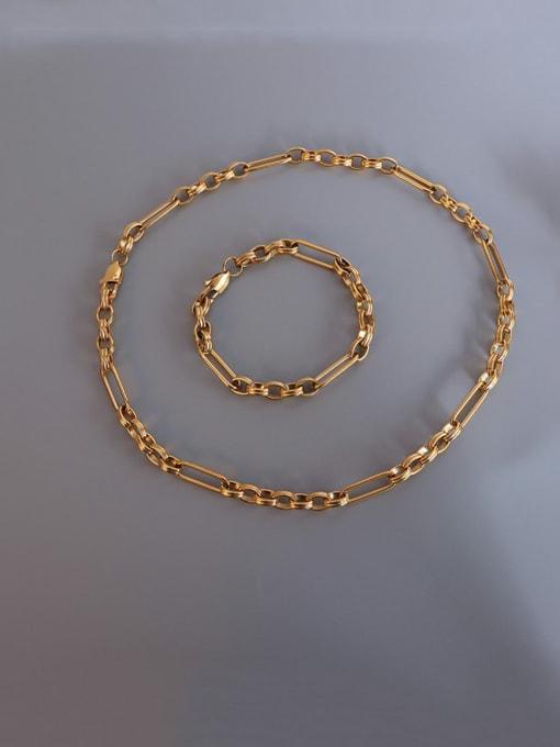 MAKA Titanium Steel  Vintage GeometricBraclete and Necklace Set 2