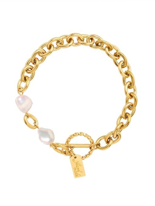 MAKA Titanium Steel Freshwater Pearl Geometric Vintage Link Bracelet