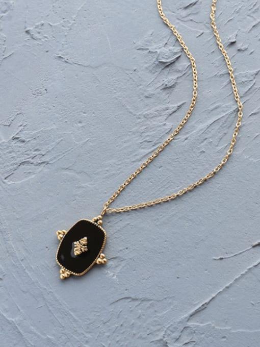 Gold necklace 40+5cm Titanium Steel Enamel Geometric Vintage Necklace