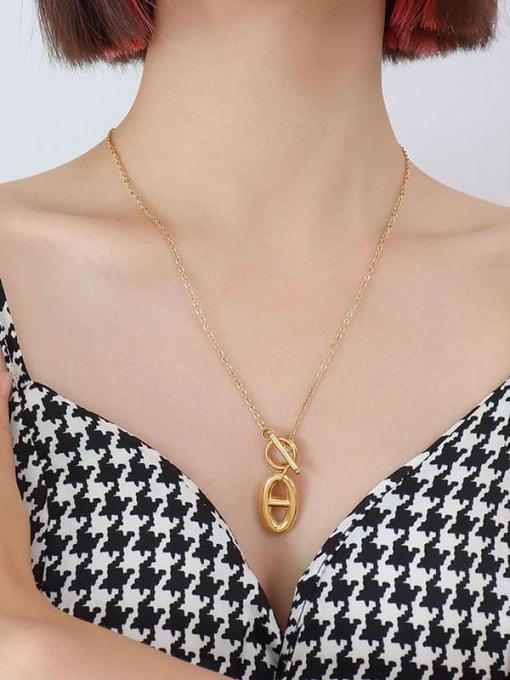 P887 gold necklace 52cm Titanium Steel Minimalist Geometric  Earring and Necklace Set