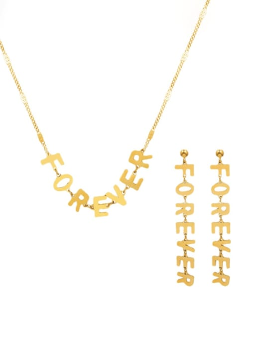 MAKA Titanium 316L Stainless Steel Minimalist Letter  Earring and Necklace Set with e-coated waterproof