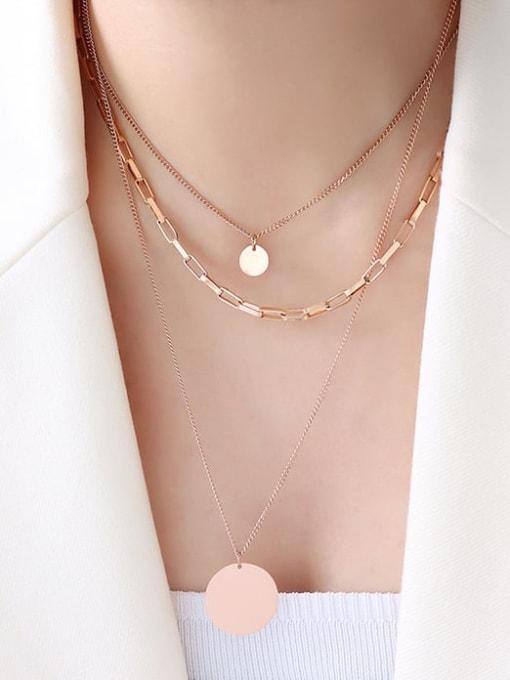 Rose gold three layer Necklace Titanium Steel Geometric Minimalist Multi Strand Necklace
