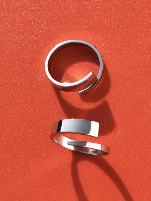 MAKA Titanium Steel Geometric Minimalist Band Ring 3