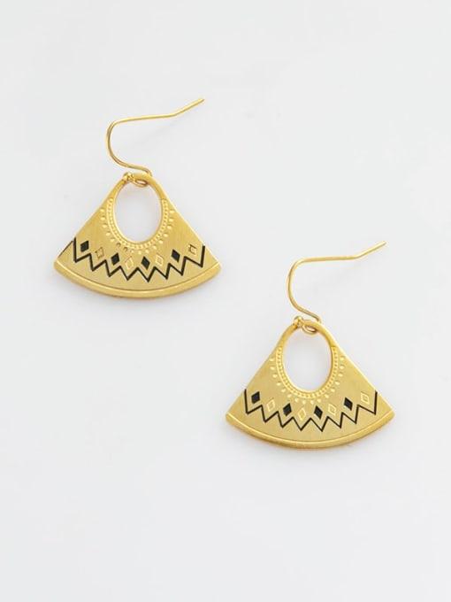 YAYACH Bohemian fan shaped titanium steel earrings 1