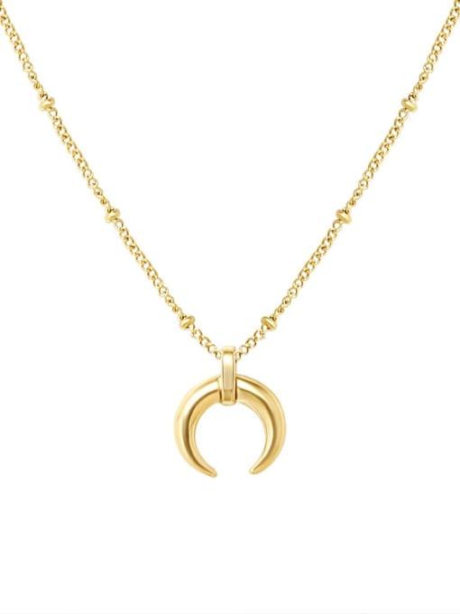 MAKA Titanium Steel Moon Minimalist Necklace 0