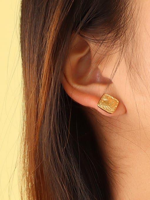 MAKA Titanium Steel Square Vintage Stud Earring 1