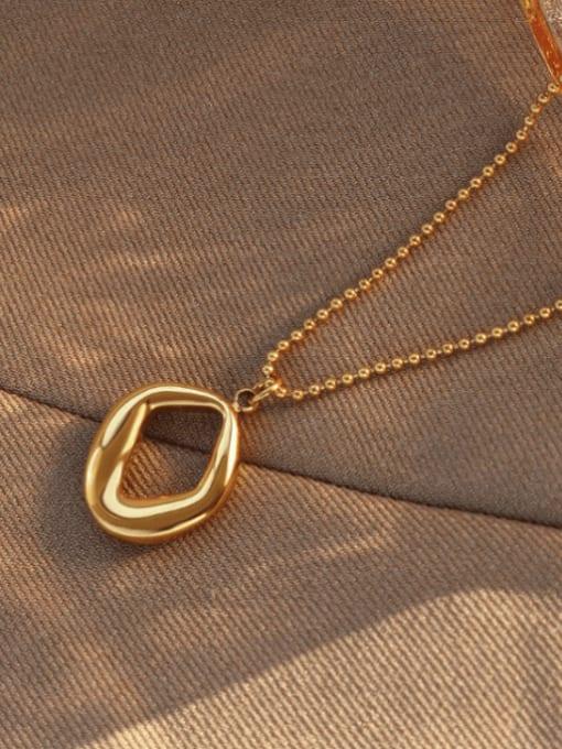 MAKA Titanium Steel Bead Chain  Vintage Irregular Pendant Necklace 2