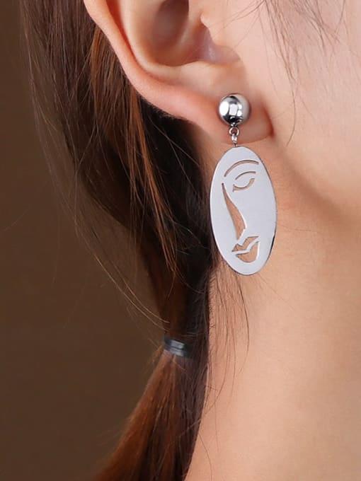 F258 Steel Earrings Titanium 316L Stainless Steel Oval Vintage Drop Earring with e-coated waterproof