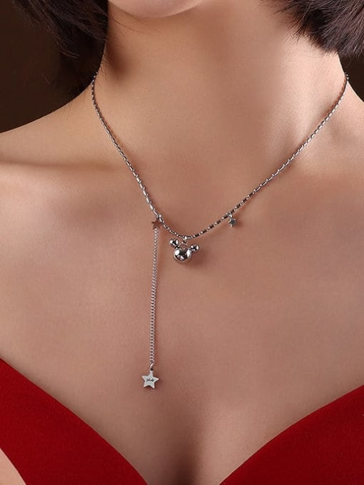 P556 Steel Necklace 40 +5cm Titanium 316L Stainless Steel Bead Minimalist Irregular  Braclete and Necklace Set with e-coated waterproof