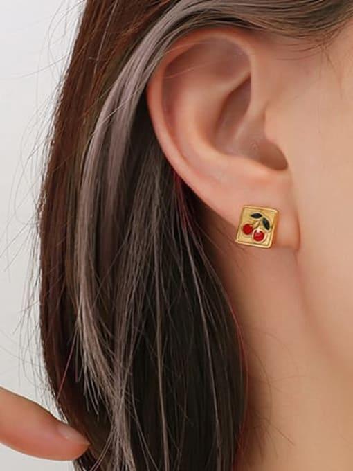 MAKA Titanium Steel Enamel Friut Minimalist Stud Earring 1