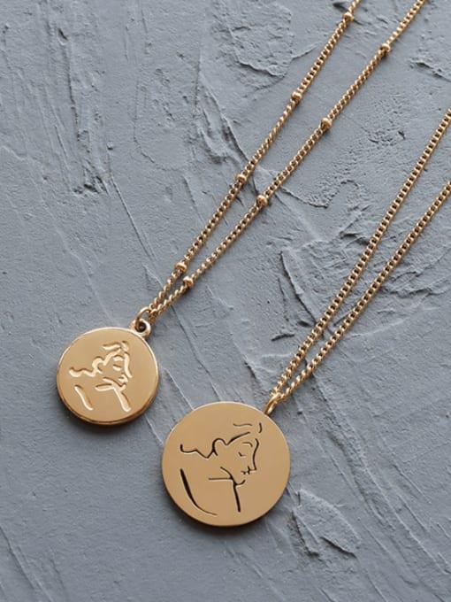 MAKA Titanium Steel Geometric Minimalist Portrait Pendant Necklace 1