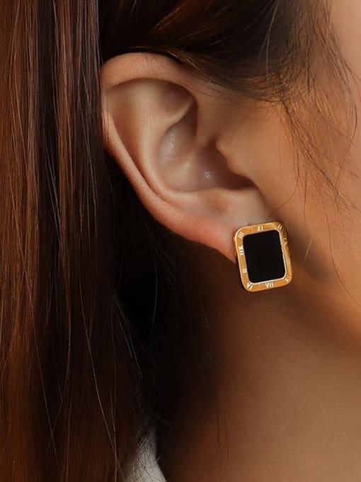 MAKA Titanium Steel Shell Geometric Minimalist Stud Earring 1