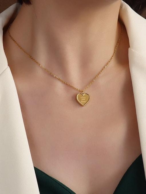 MAKA Titanium Steel Smooth Heart Minimalist Necklace 1