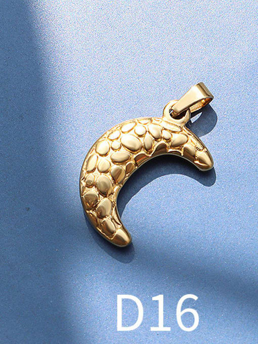 D16 Golden Moon Titanium Steel  Moon Star Vintage Pendant