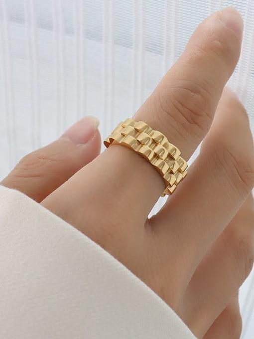 A228 gold ring Titanium Steel Geometric Hip Hop Band Ring