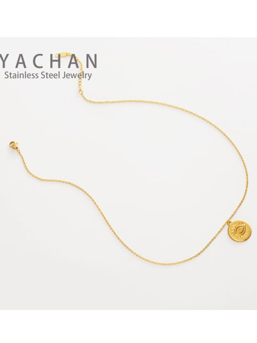 golden French Fine Eye Coin Pendant Multi-layered snake-shaped clavicle chain
