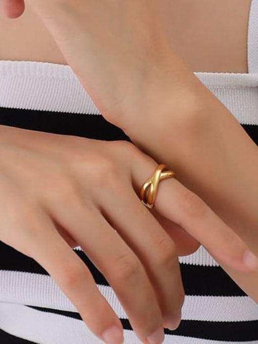 A245 gold ring Titanium Steel Geometric Hip Hop Band Ring