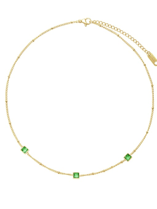 Green French elegant small square combination necklace