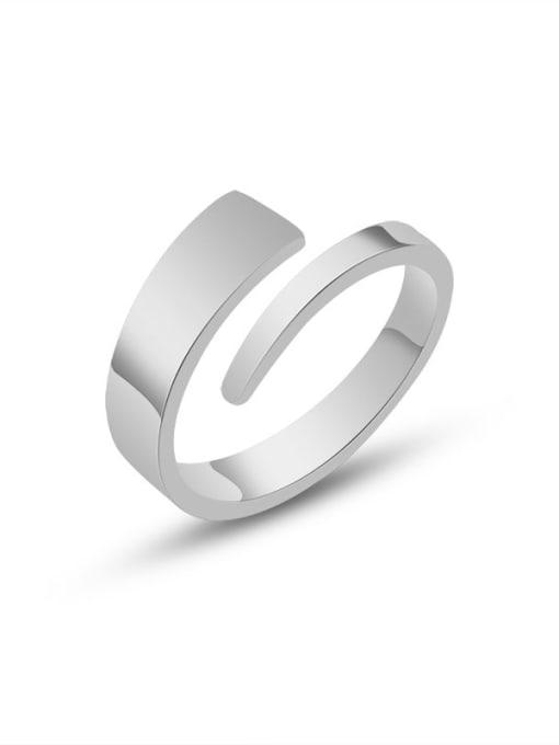 Steel color Titanium Steel Geometric Minimalist Band Ring