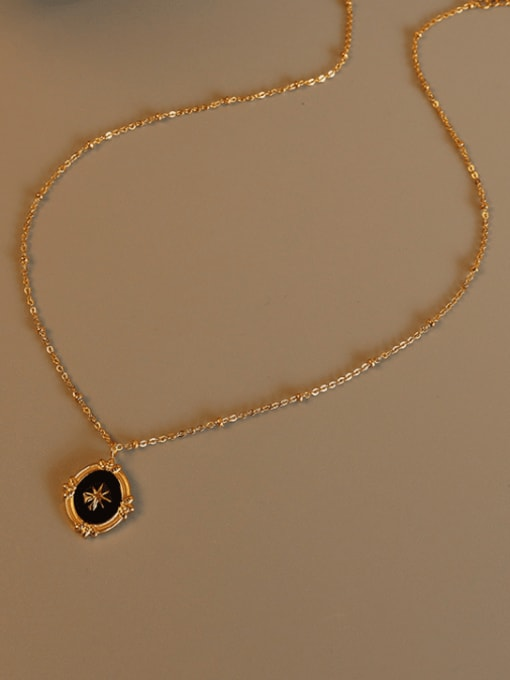 Gold Titanium Steel Enamel Geometric Vintage Necklace