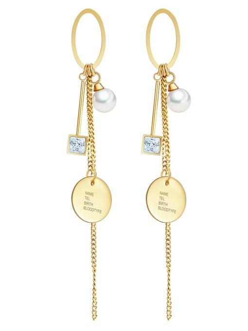YAYACH Crystal geometric ring pearl temperament exquisite titanium steel earrings
