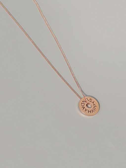 Rose gold necklace 39+5cm Titanium Steel Hollow Round Letter Minimalist Necklace