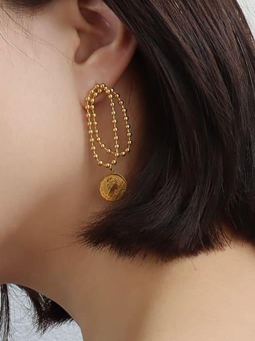 MAKA Titanium Steel Bead Geometric Vintage Drop Earring 2