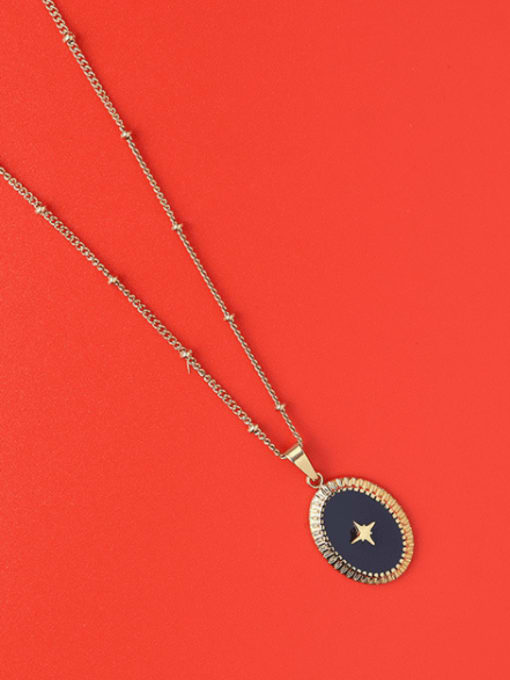 MAKA Titanium Steel Enamel Oval Minimalist Necklace 2