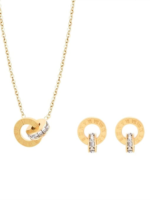 MAKA Titanium Steel Minimalist Geometric Rhinestone Earring and Necklace Set