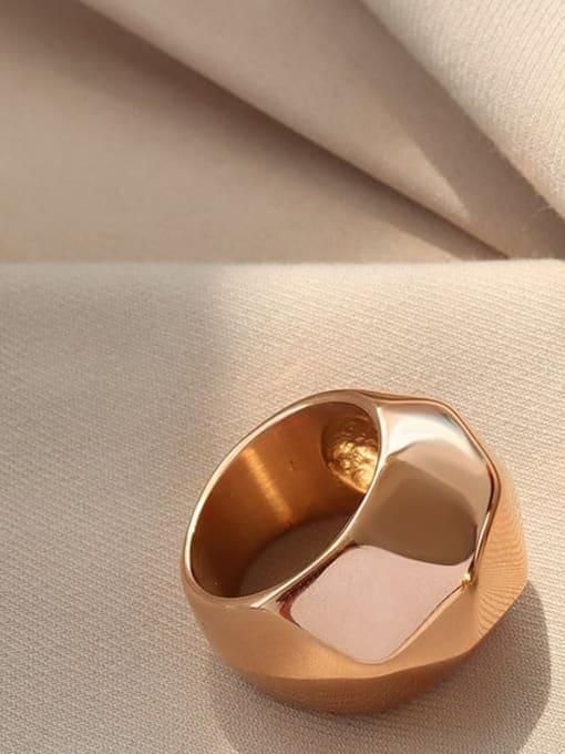 Rose gold Titanium Steel Irregular Artisan Band Ring