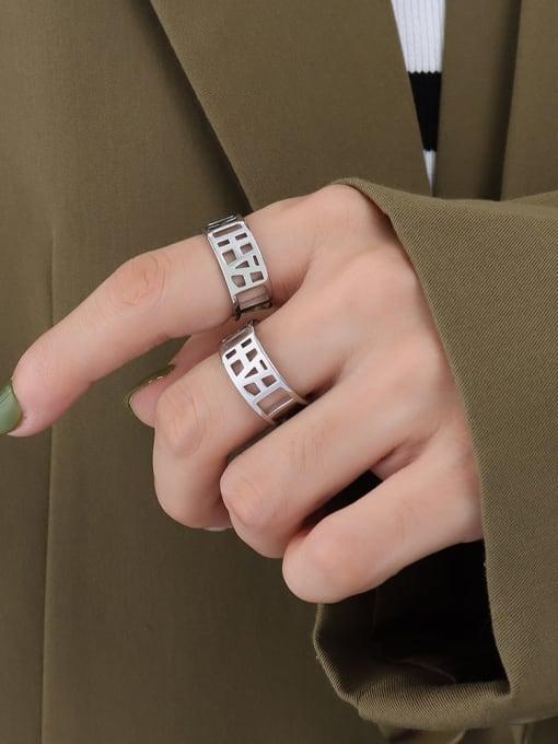 A269 steel ring Titanium Steel Geometric Minimalist HollowLetter Band Ring