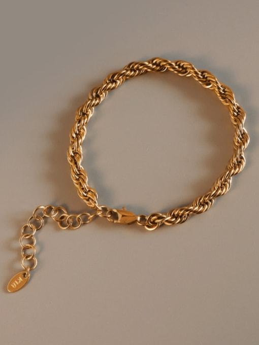 Gold  15+5cm Titanium Steel Geometric Artisan Link Bracelet