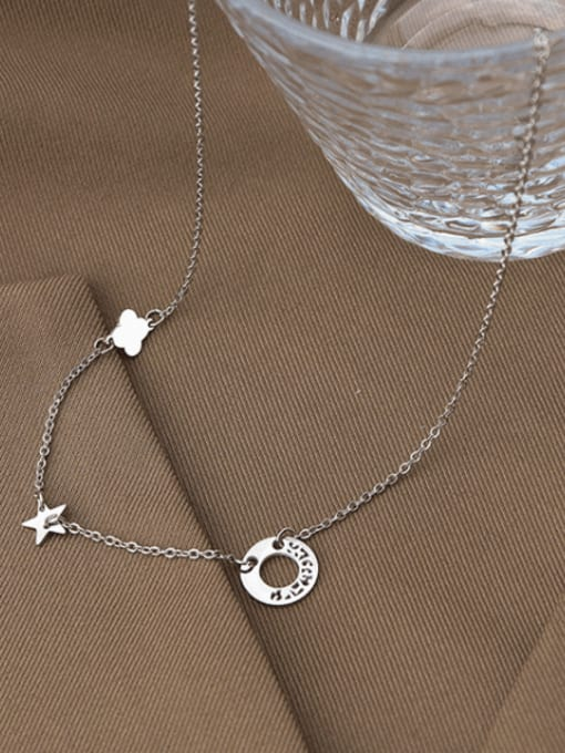 MAKA Titanium Steel Clover Minimalist Necklace 2